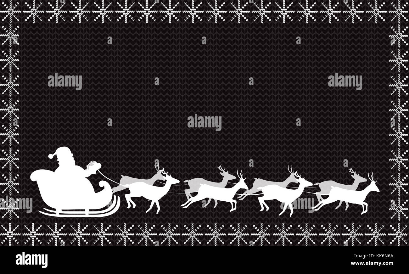 White silhouette of santa claus riding in a sleigh with eight white silhouette of santa claus riding in a sleigh with eight reindeer on black fabric knitted background framed with snowflakesristmas or new year jeuxipadfo Choice Image
