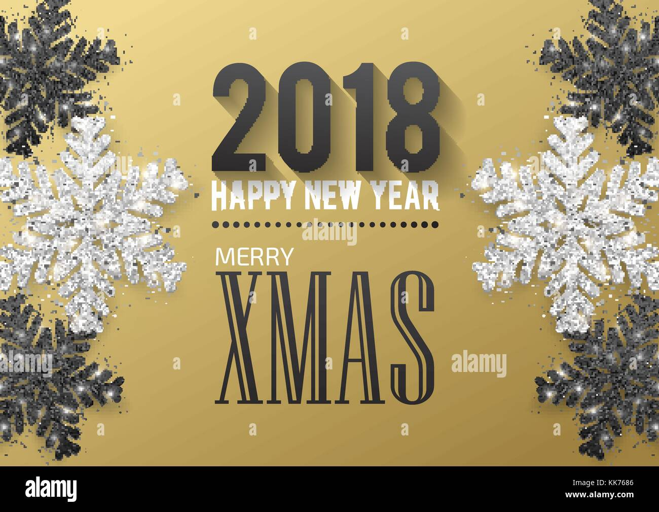 greeting card invitation with happy new year 2018 and christmas