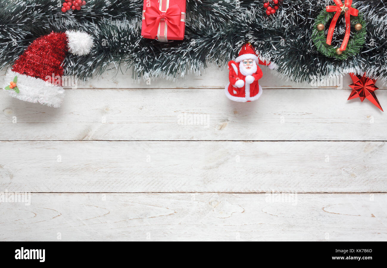 Table Top View Image Of Decorations Ornaments Merry Christmas Background Conceptessential Items On Vintage Rustic White At Home Office Deskf