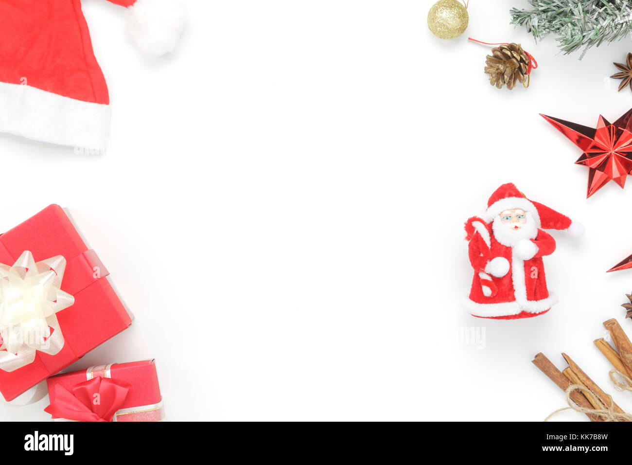 above view aerial image of ornaments decorations merry christmas happy new year conceptessential accessories on white backgroundtable top beauti