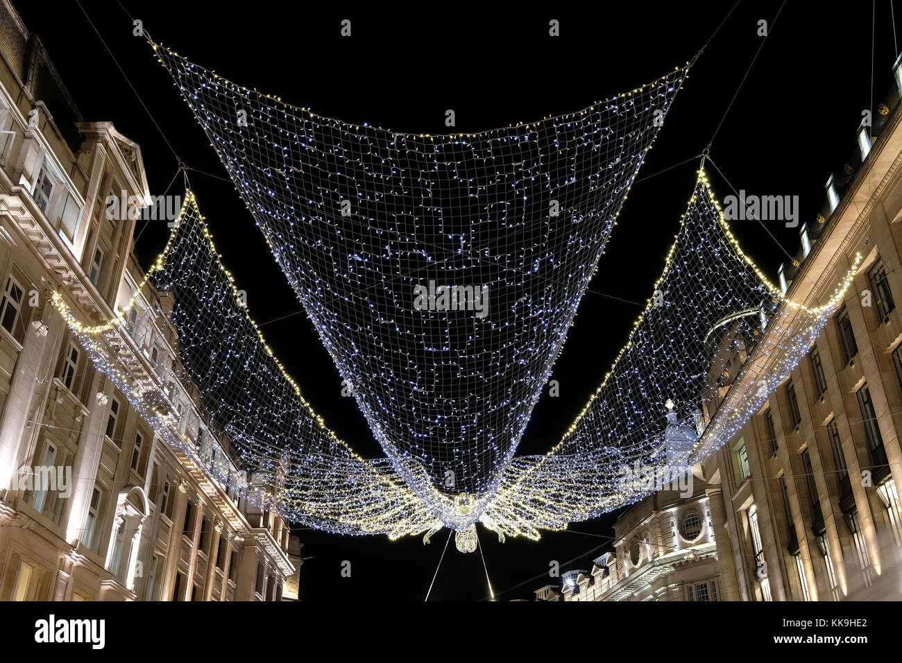 christmas angel lights in regent street london uk photographed from street level at night