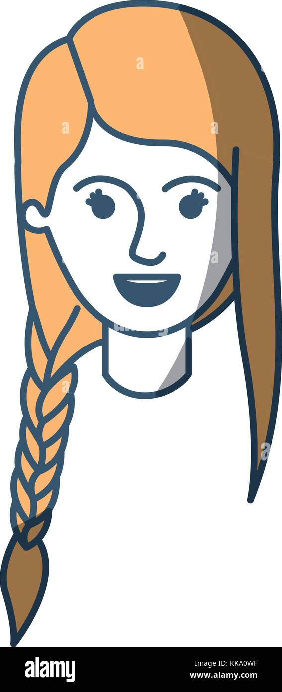 Female Face With Braid And Fringe Hairstyle In Color Sections Stock
