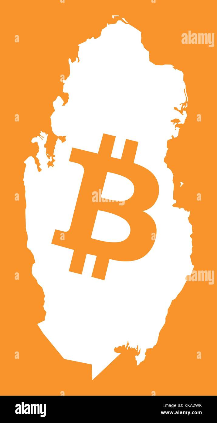 Qatar currency stock photos qatar currency stock images alamy qatar map with bitcoin crypto currency symbol illustration stock image biocorpaavc