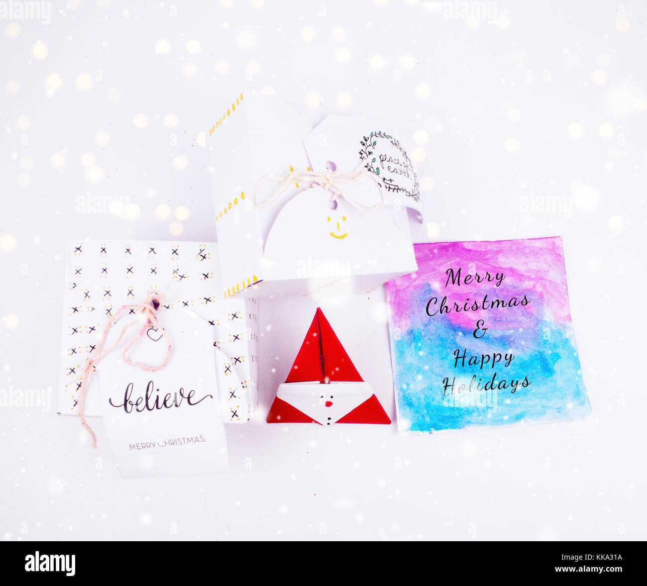 Christmas Decoration Diy Square Gift Box With Greeting Card For