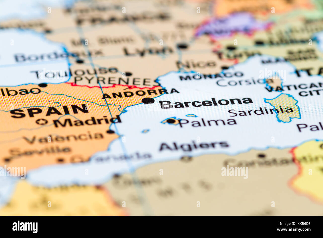Close up of a world map with Spain in focus Stock Photo: 166818319 ...
