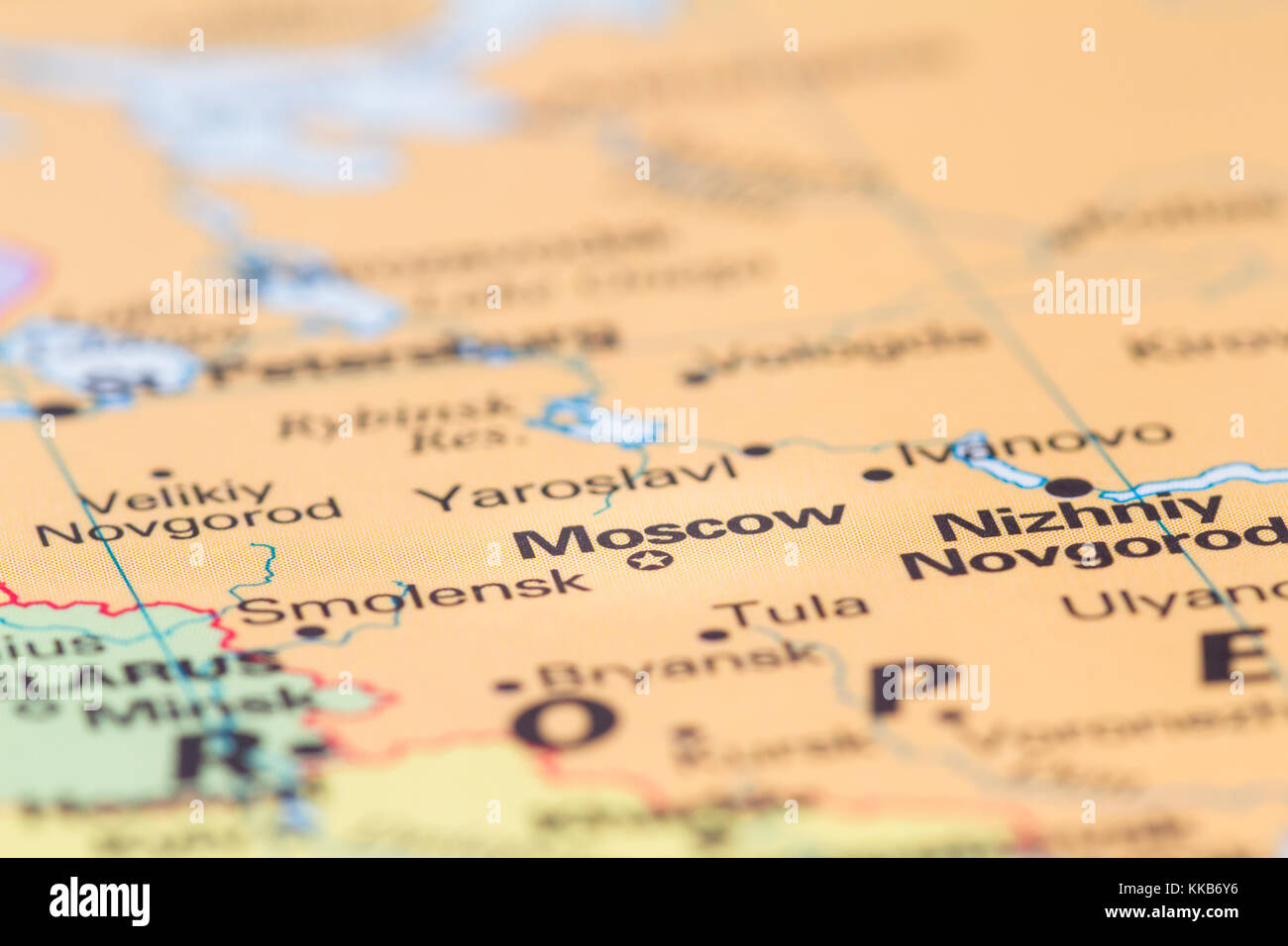 Close Up Of A World Map With The City Of Moscow In Focus Stock Photo