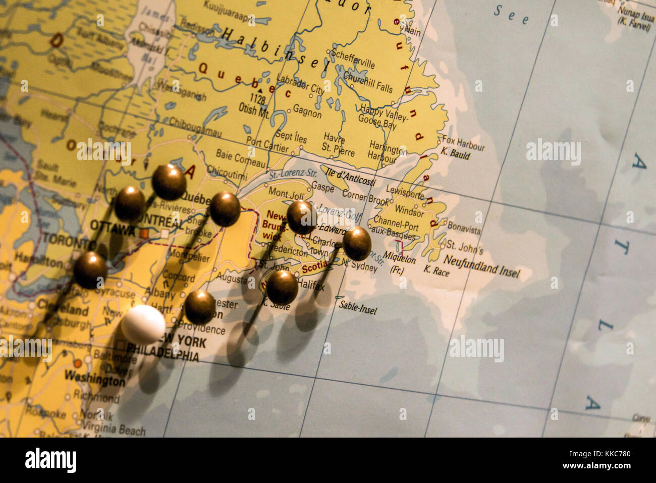 Travel map push pins stock photos travel map push pins stock picture of world map travel concept with many pushpins pins in east usa and canada gumiabroncs Image collections