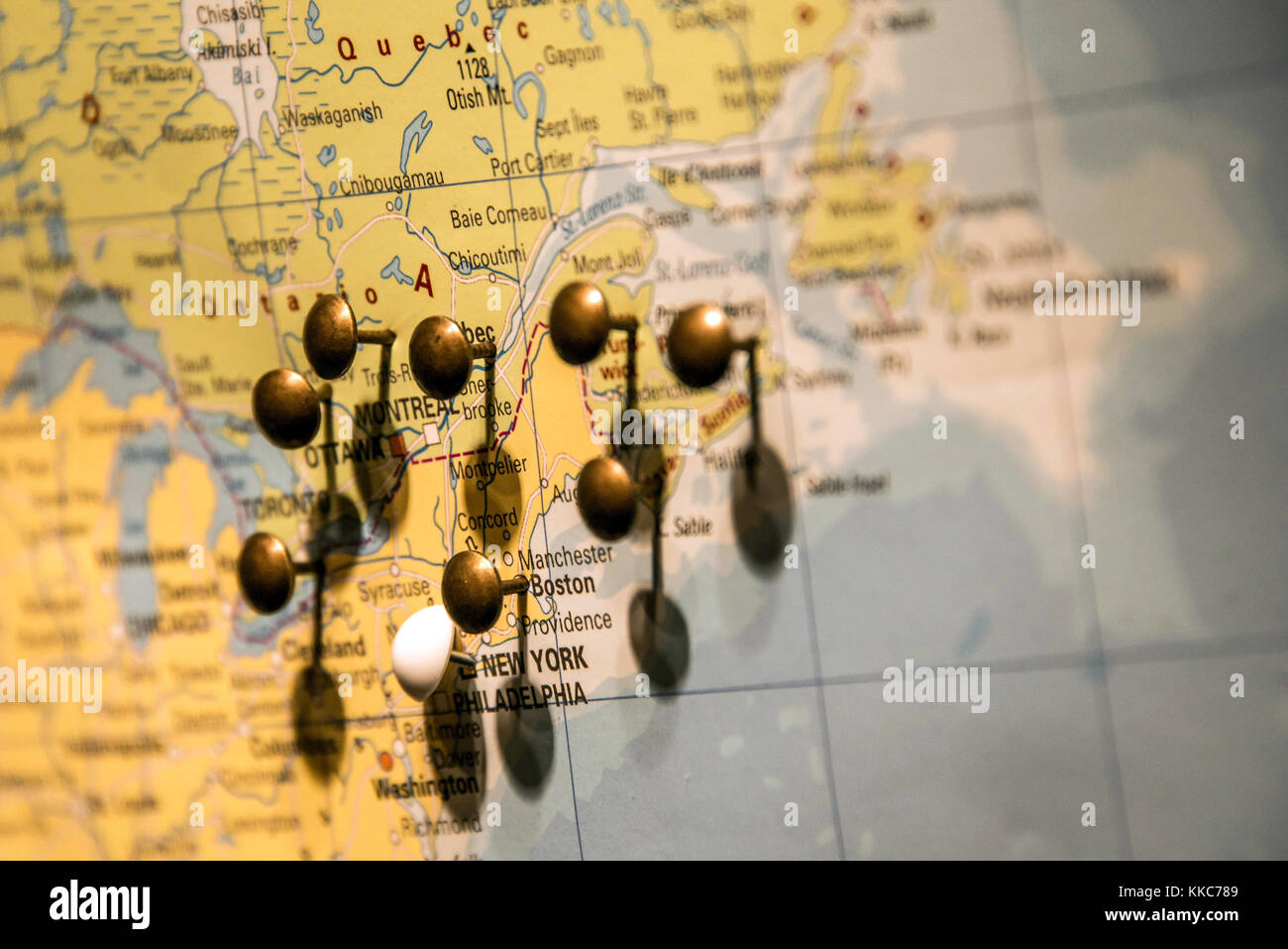 West coast usa map stock photos west coast usa map stock images picture of world map travel concept with many pushpins pins in east usa and canada gumiabroncs Image collections