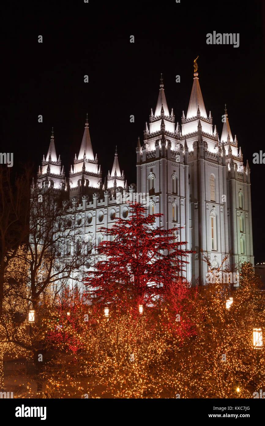 Christmas Lights At The Salt Lake Temple, Salt Lake City, Utah