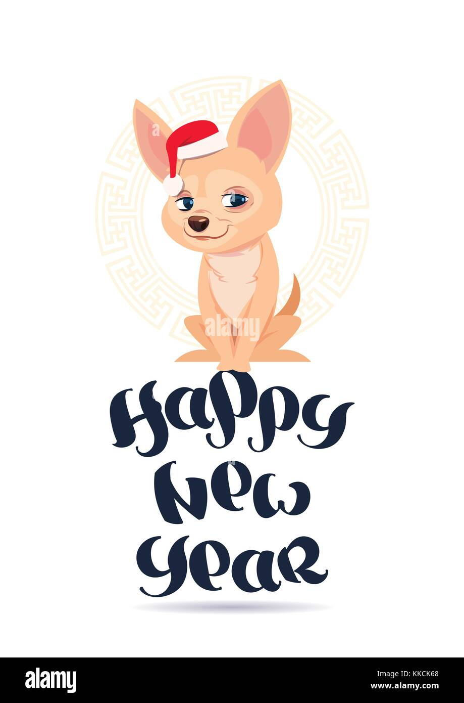 Happy New Year 2018 Greeting Card With Cute Chihuahua Dog In Santa ...