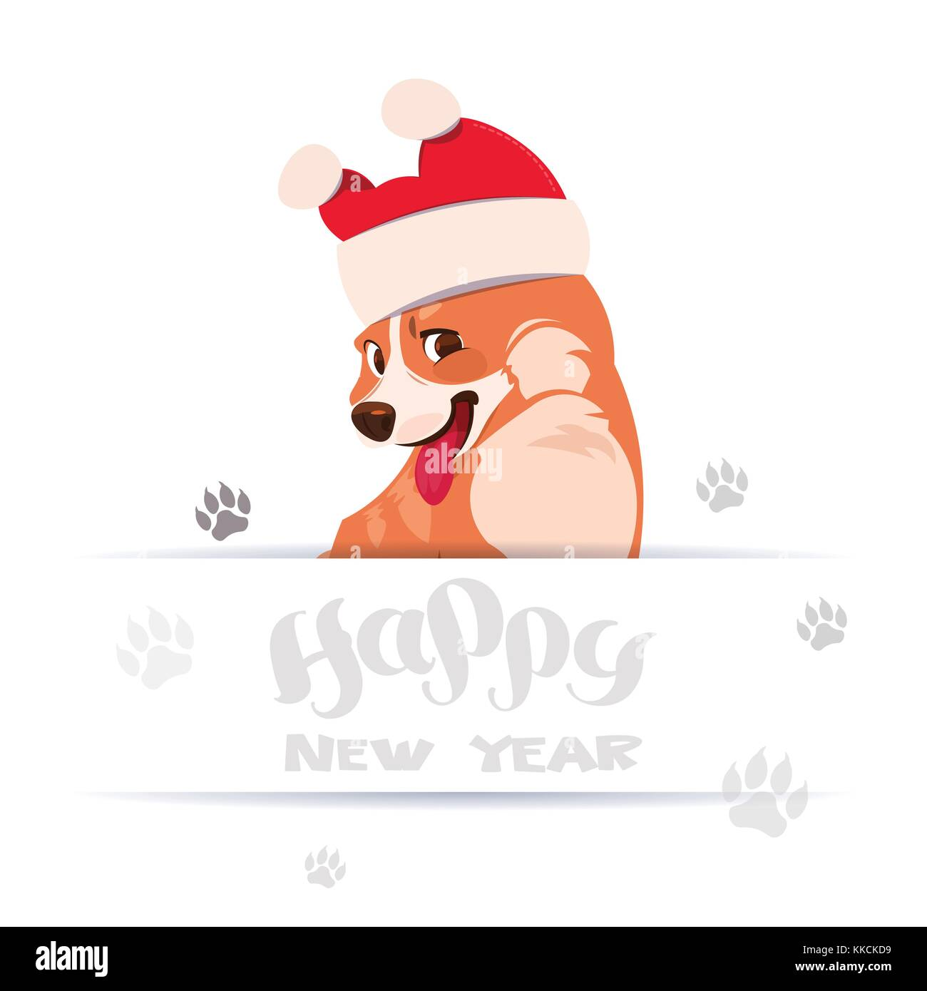 happy new year 2018 greeting card design with lettering and corgi dog wearing santa hat over foot prints on white background