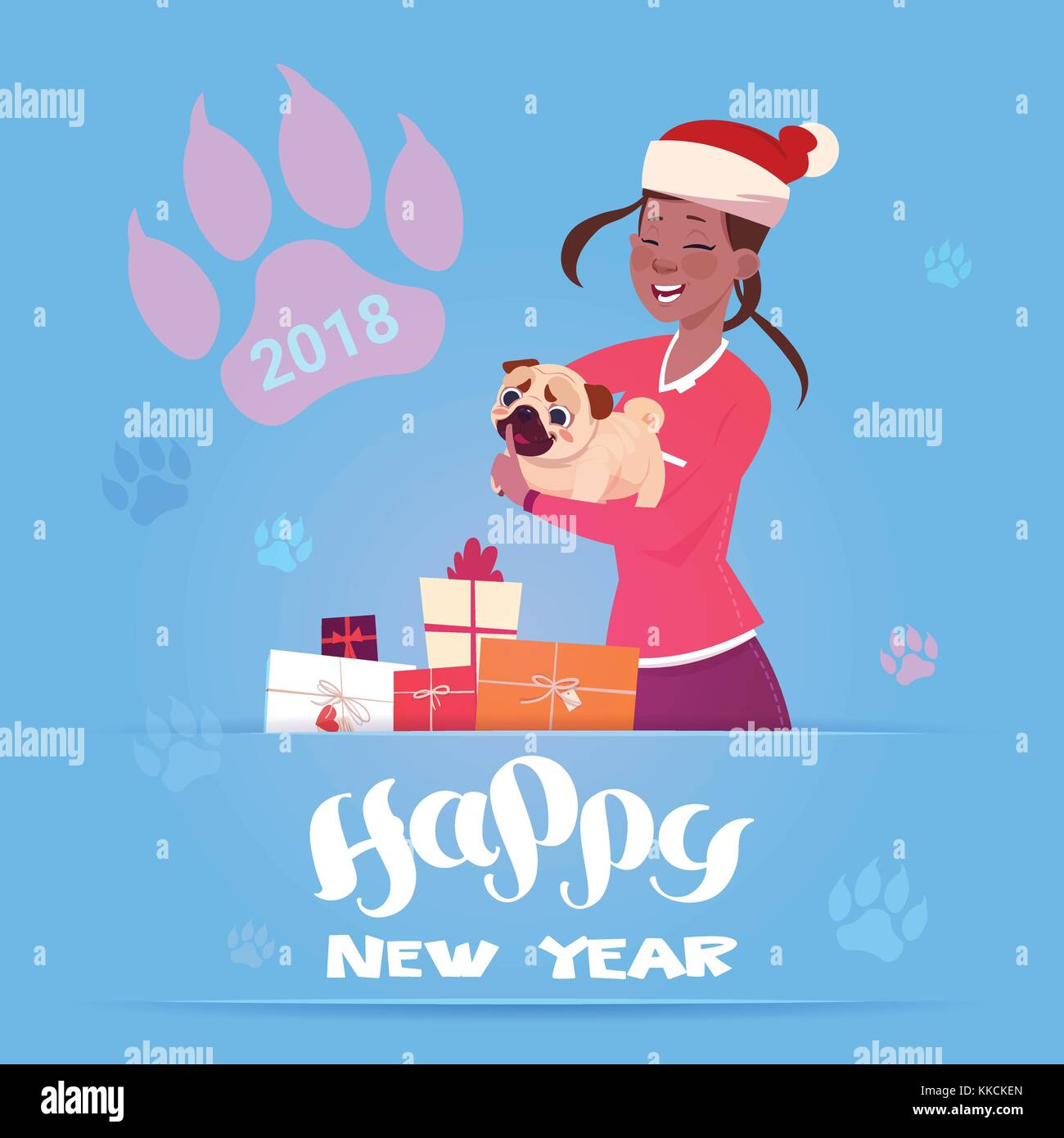 african american woman in santa hat holding cute pug dog winter holidays 2018 banner new year card design