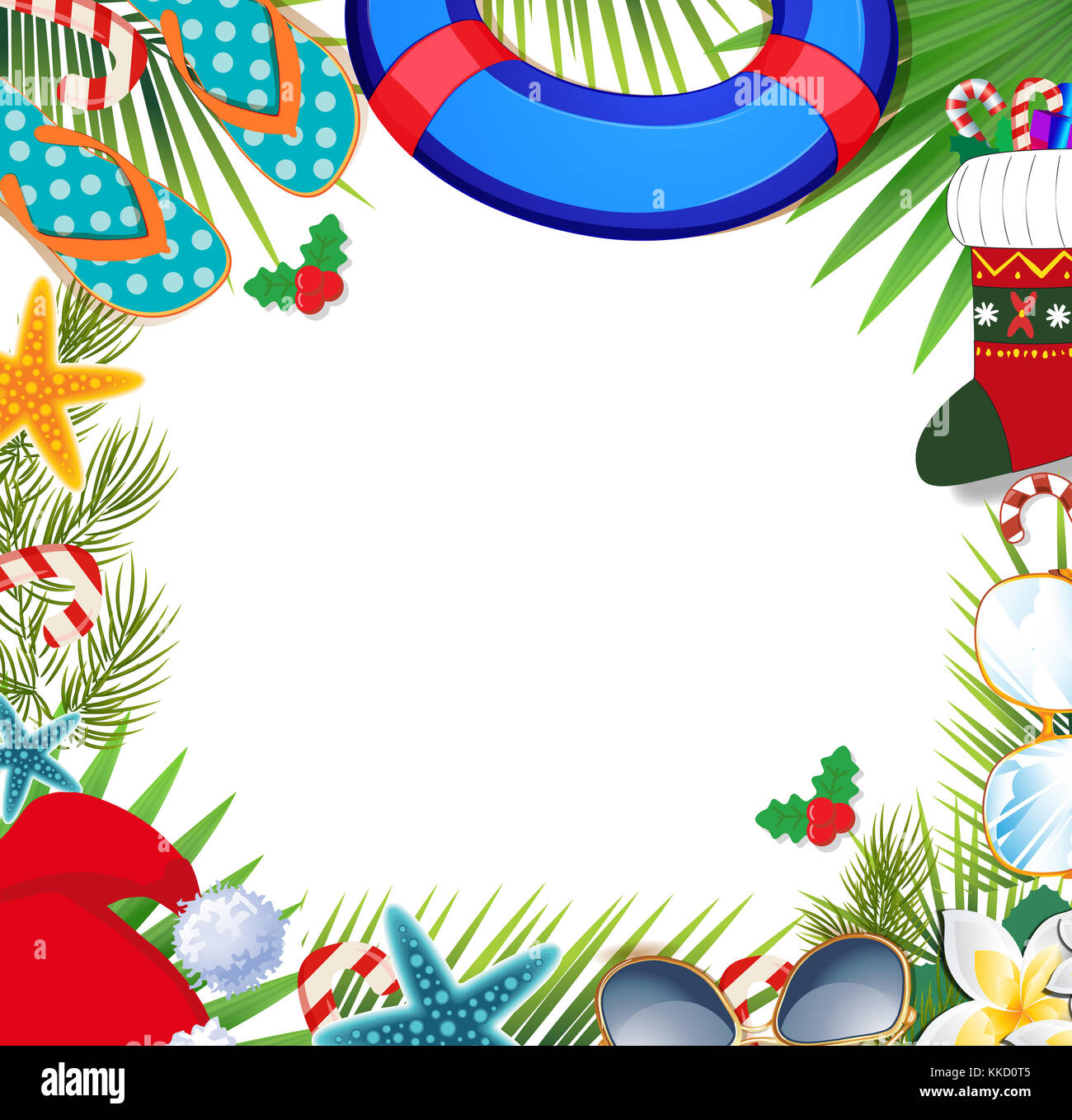 merry christmas and happy new year border on a warm climate design background summer vacation accessories and palm leaves with santa hat on white ba