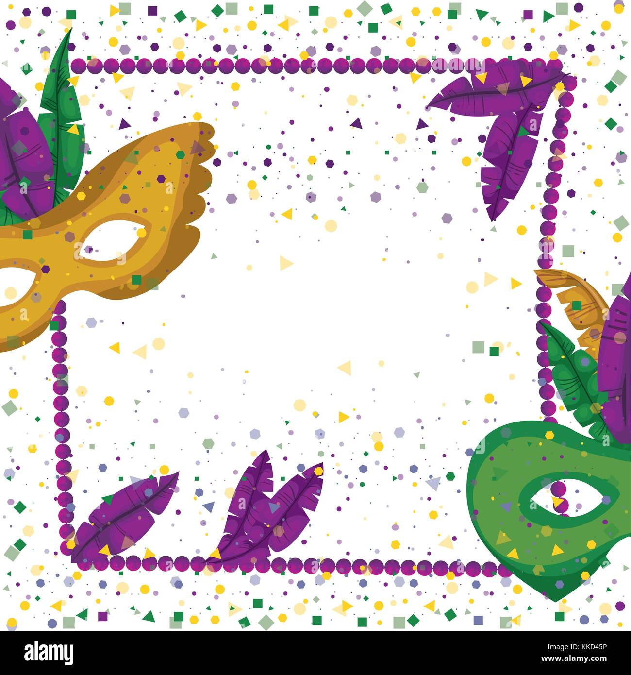 carnival mardi gras poster with purple necklace frame with feathers ...