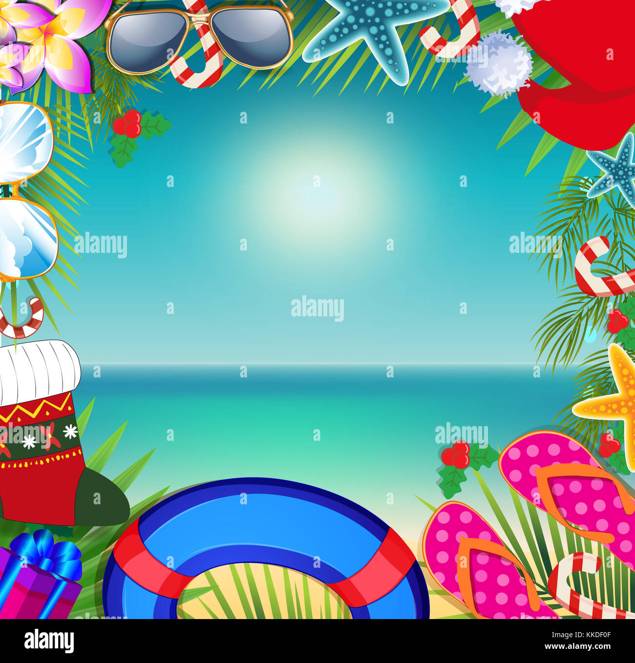 merry christmas and happy new year border on a warm climate design background summer vacation accessories and palm leaves with santa hat on beach ba