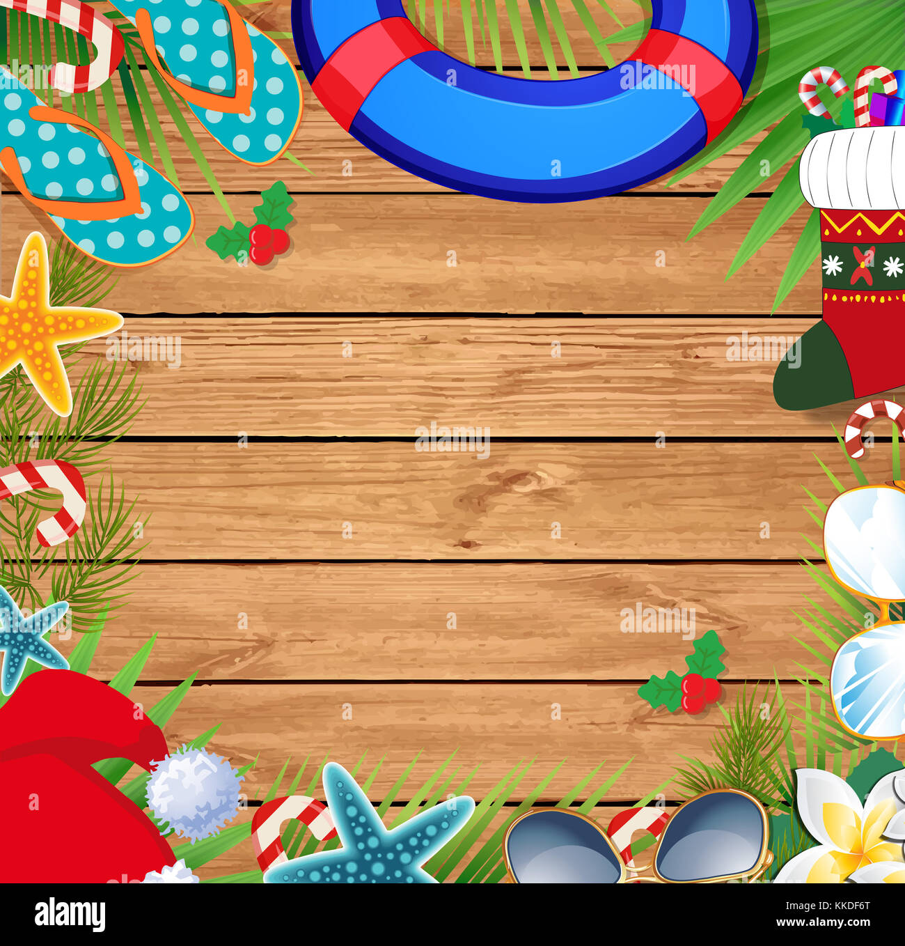 merry christmas and happy new year border on a warm climate design background summer vacation accessories and palm leaves with santa hat on wooden b