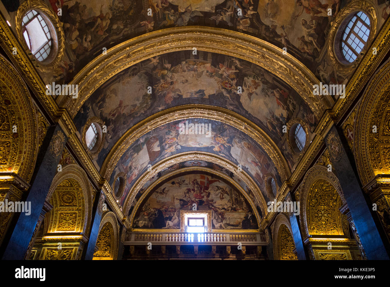 Baroque ceiling cathedral stock photos baroque ceiling cathedral baroque highly decorated vaulted ceiling depicting life of st john painted by mattia doublecrazyfo Gallery