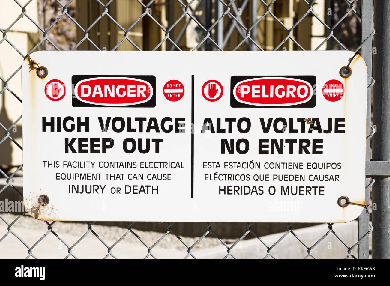 High voltage sign stock photos high voltage sign stock images alamy danger high voltage keep out sign on a chain link fence around electrical equipment stock buycottarizona Images