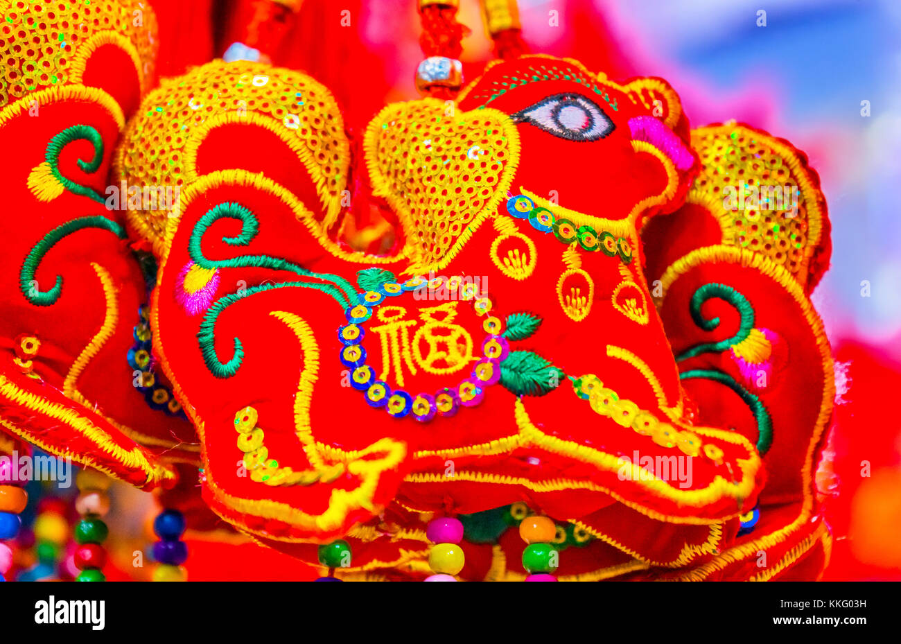 red ancient dogs chinese lunar new year decorations beijing china 2018 year of the dog in chinese lunar new year decorations hung by many chinese - Chinese Lunar New Year