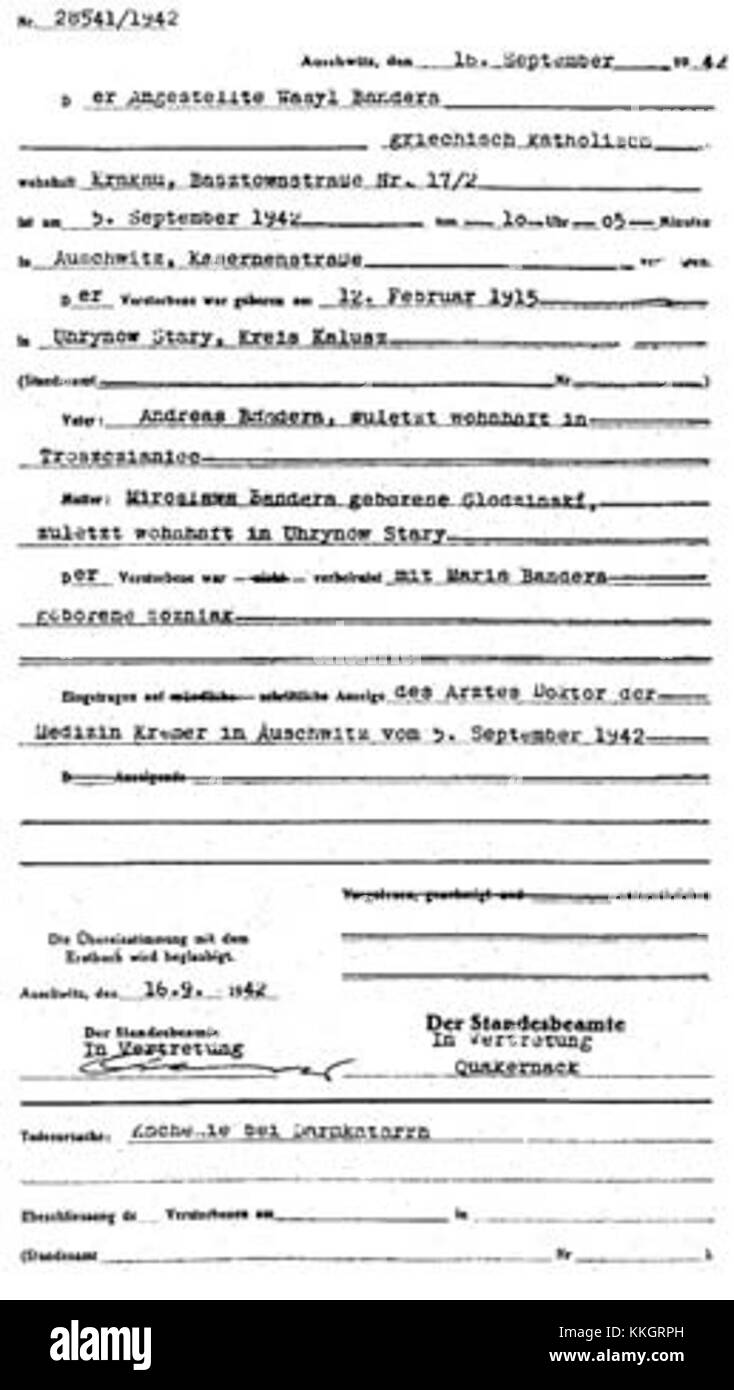 Death certificate black and white stock photos images alamy vasyl bandera death certificate stock image aiddatafo Images
