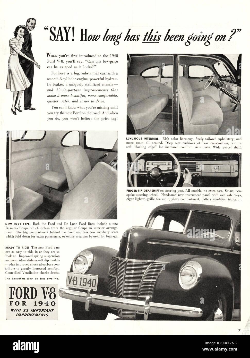 1939 U.S. Magazine Ford V-8 Car Advert Stock Photo, Royalty Free ...