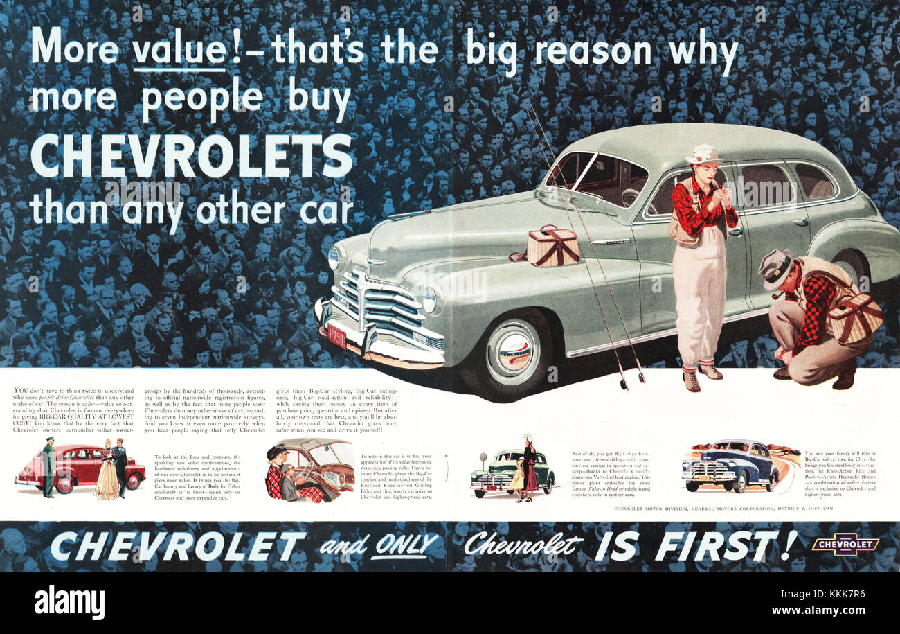 1948 U.S. Magazine Chevrolet Car Advert Stock Photo: 166995002 - Alamy
