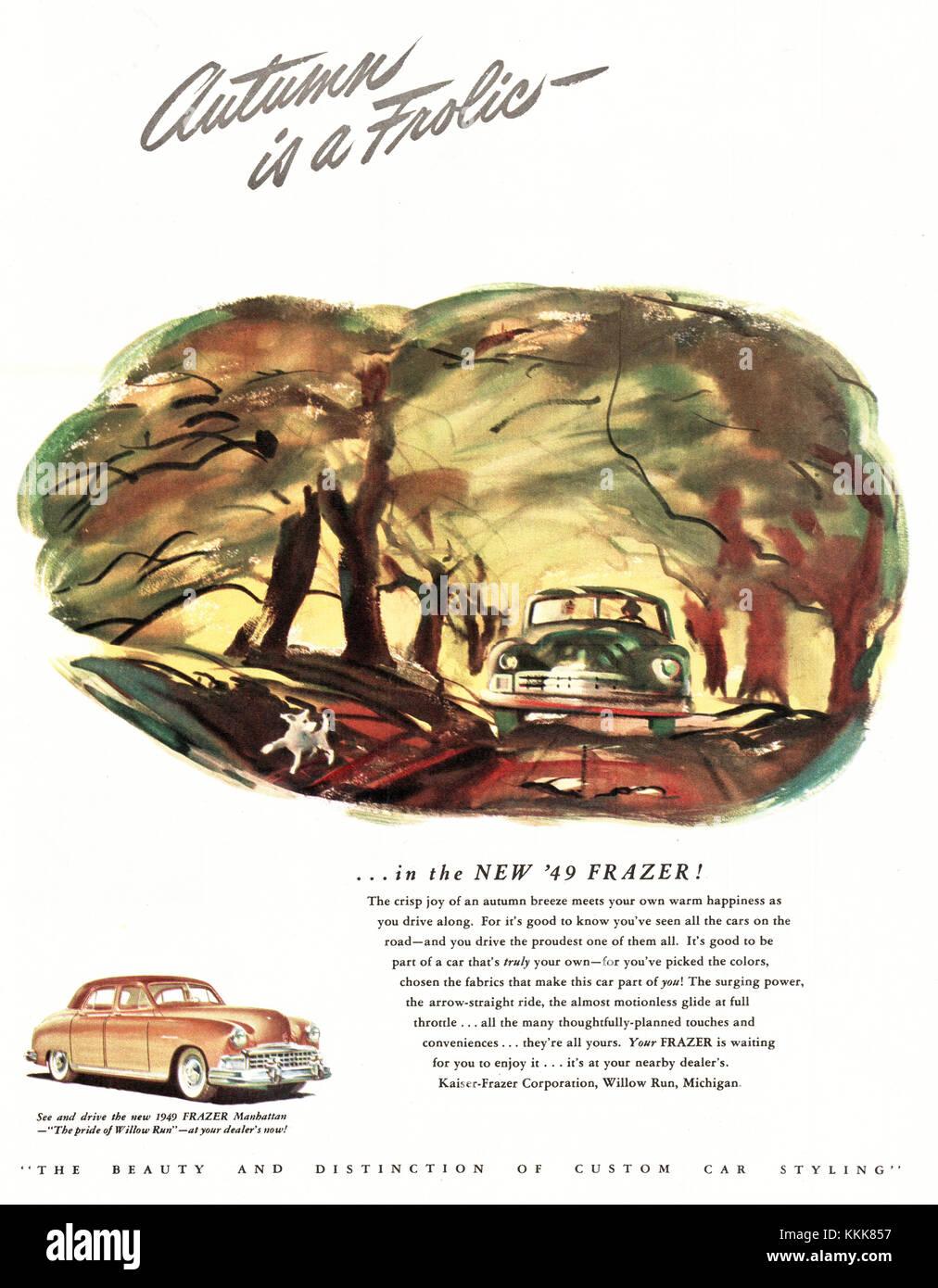 1948 U.S. Magazine Kaiser Frazer Car Advert Stock Photo, Royalty ...