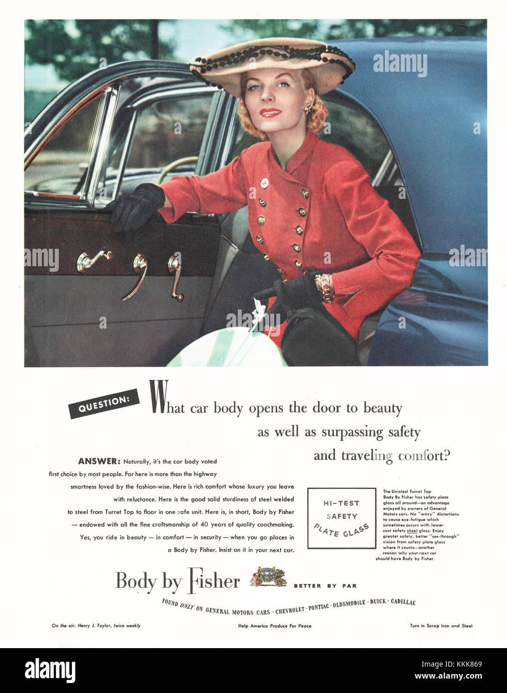 1948 U.S. Magazine Fisher Car Body Advert Stock Photo, Royalty ...