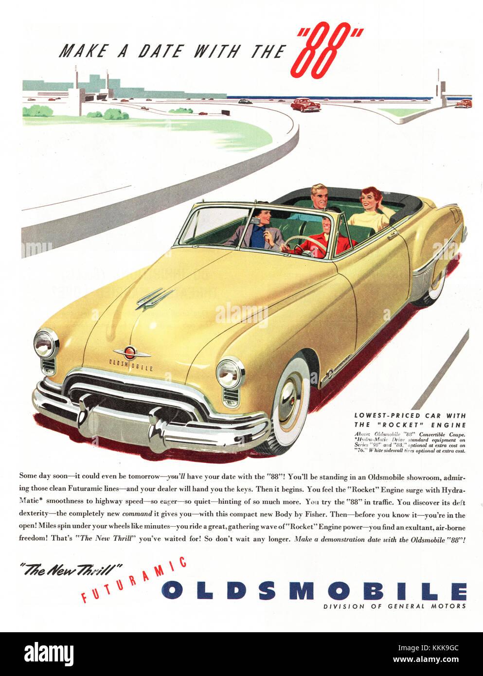 1949 U.S. Magazine Oldsmobile Car Advery Stock Photo, Royalty Free ...