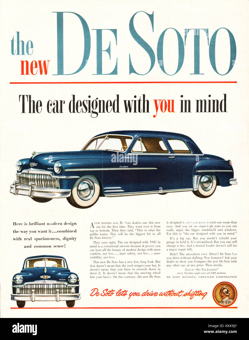 1949 U.S. Magazine Ford De Soto Car Advert Stock Photo, Royalty ...
