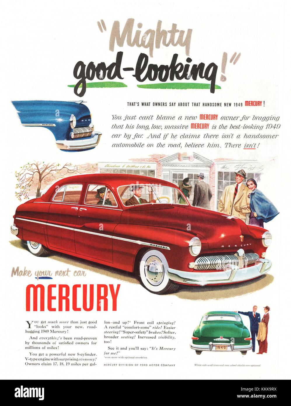 1949 U.S. Magazine Mercury Car Advert Stock Photo, Royalty Free ...