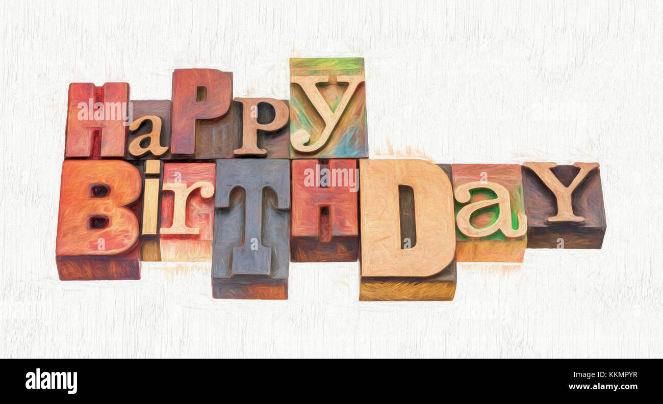 Happy birthday greeting card word abstract in vintage mixed stock happy birthday greeting card word abstract in vintage mixed letterpress wood type with a digital painting effect applied m4hsunfo