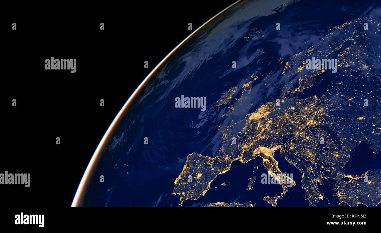 Europe City Lights On World Map Europe Elements Of This Image - World map from outer space