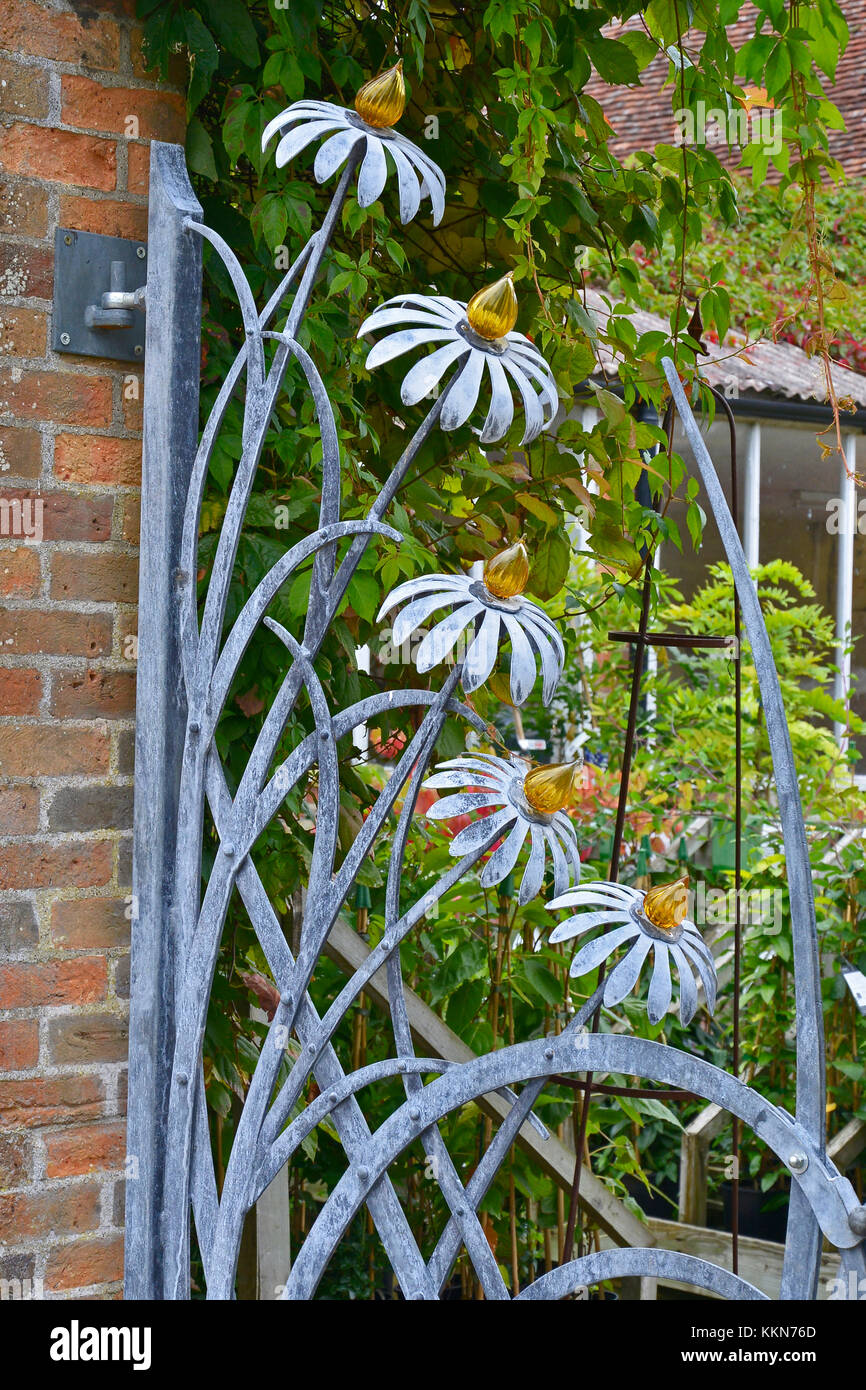 Decorative Iron Garden Gate With Floral Decoration   Stock Image