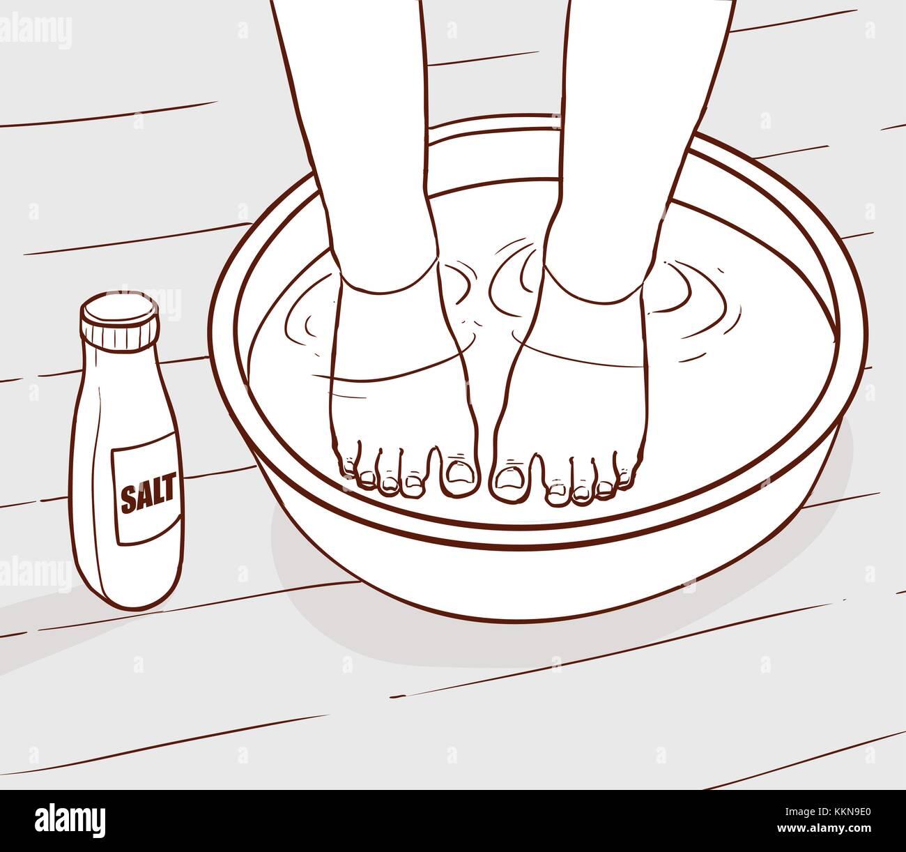 Illustration Of Salt Water Treatment On The Feet Stock Vector Art Diagram