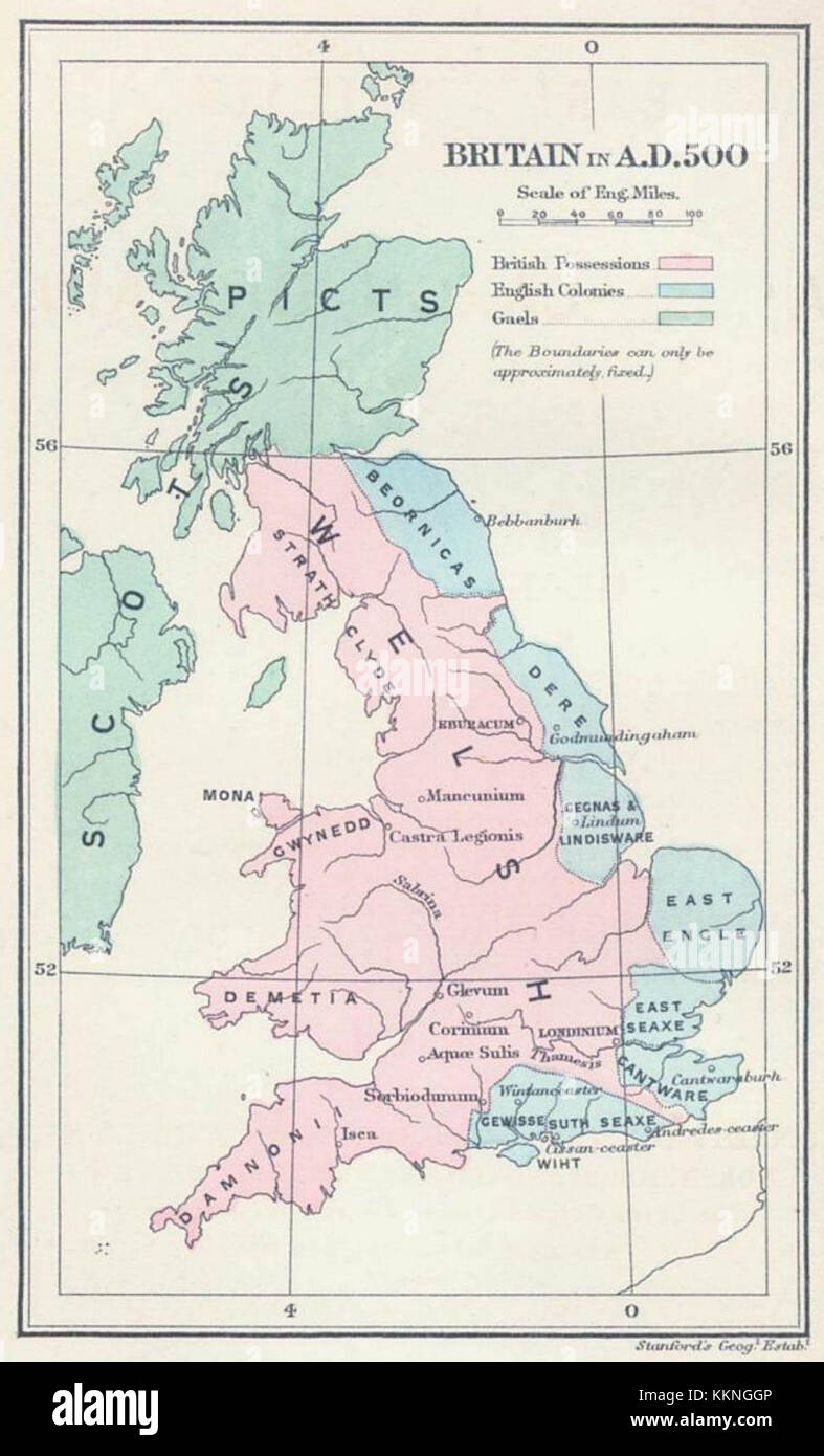 Britain In AD The Areas Shaded Pink On The Map Were Inhabited - Britain on a map