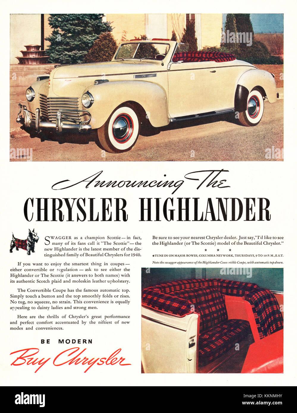 US Magazine Chrysler Highlander Advert Stock Photo Royalty - The nearest chrysler dealership