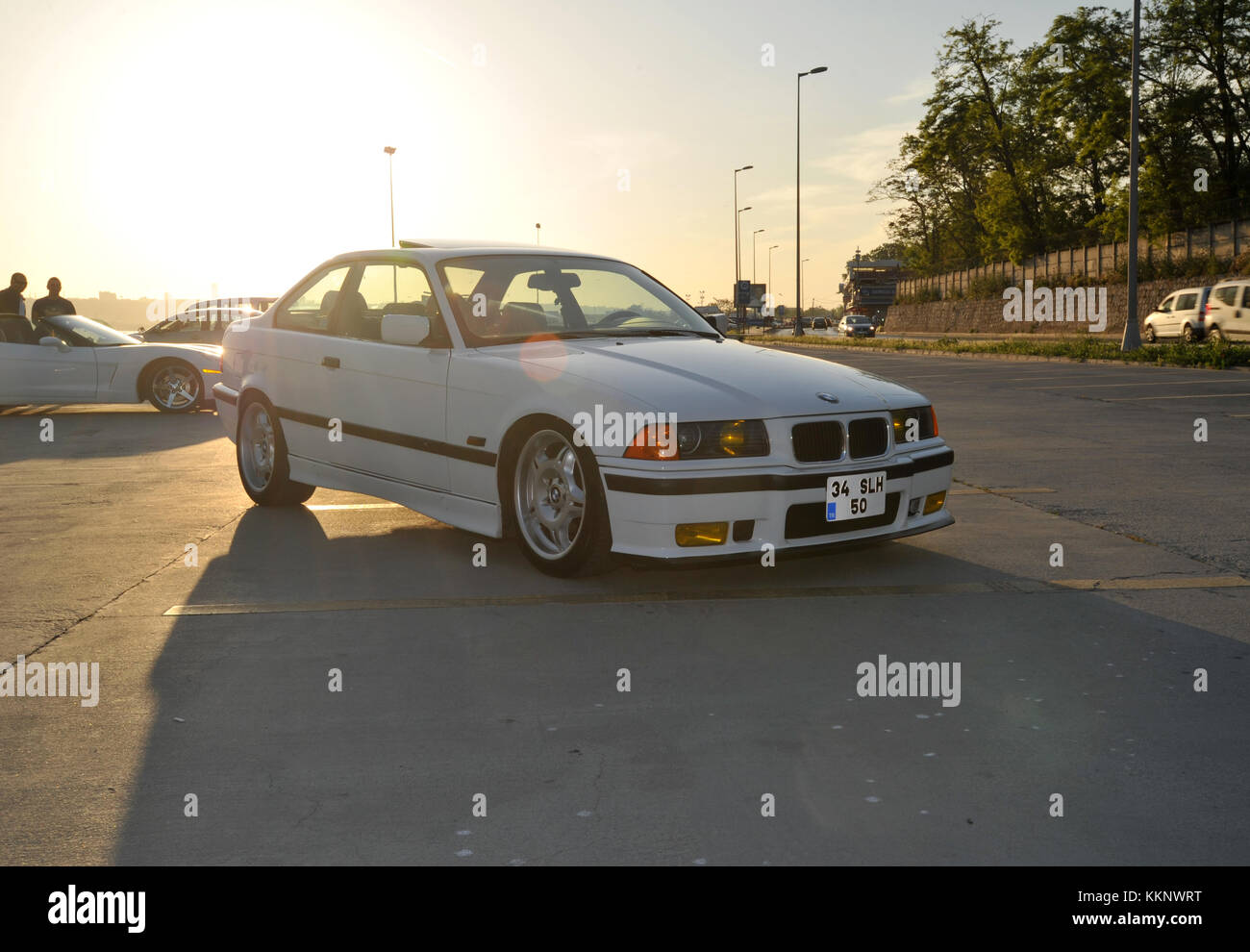 Modified Bmw E36 3 Series Coupe Lowered On M3 Wheels Stock Photo