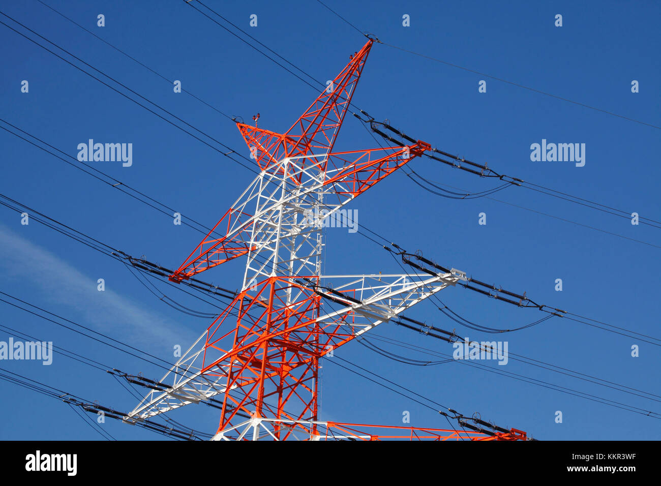 High Voltage Transmission Lines : Electric power transmission lines high stock photos