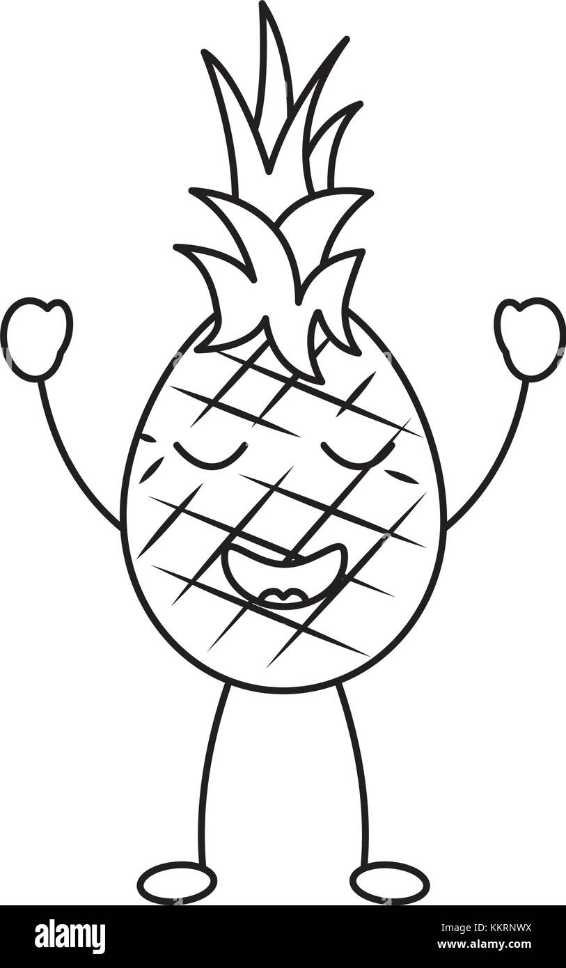 Pineapple Fruit Cartoon Illustration Black and White Stock Photos ... for Clipart Pineapple Black And White  183qdu