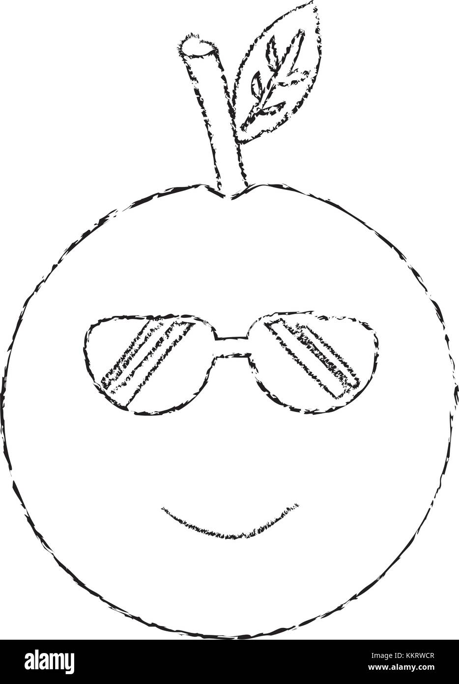 3a578035d8adc orange wearing sunglasses happy fruit kawaii icon image Stock Vector ...