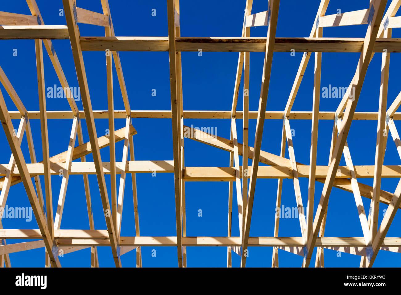 Wood construction frame of housing development detached house Stock ...