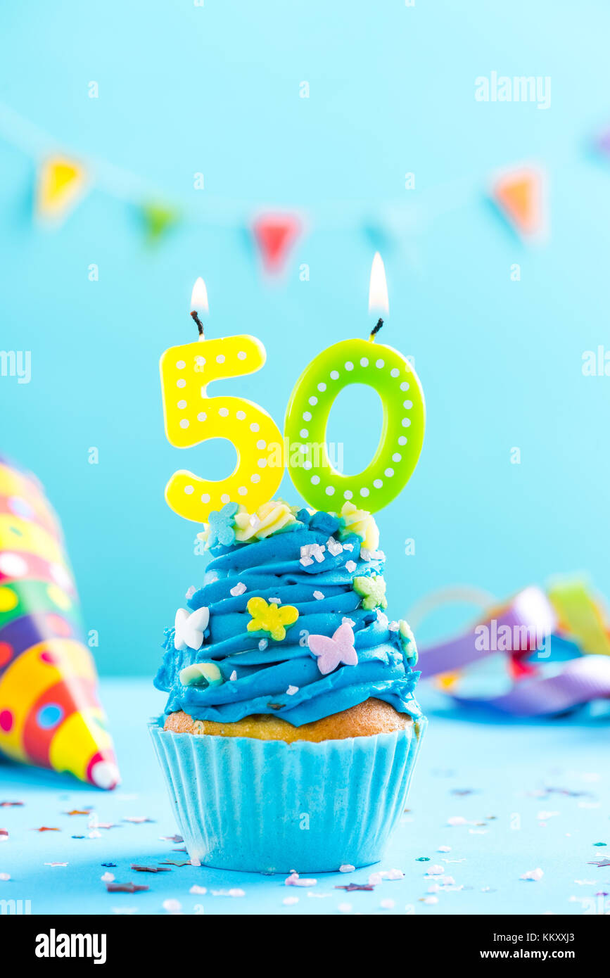 Fiftieth 50th Birthday Cupcake With Candle And Sprinkles Card Mockup