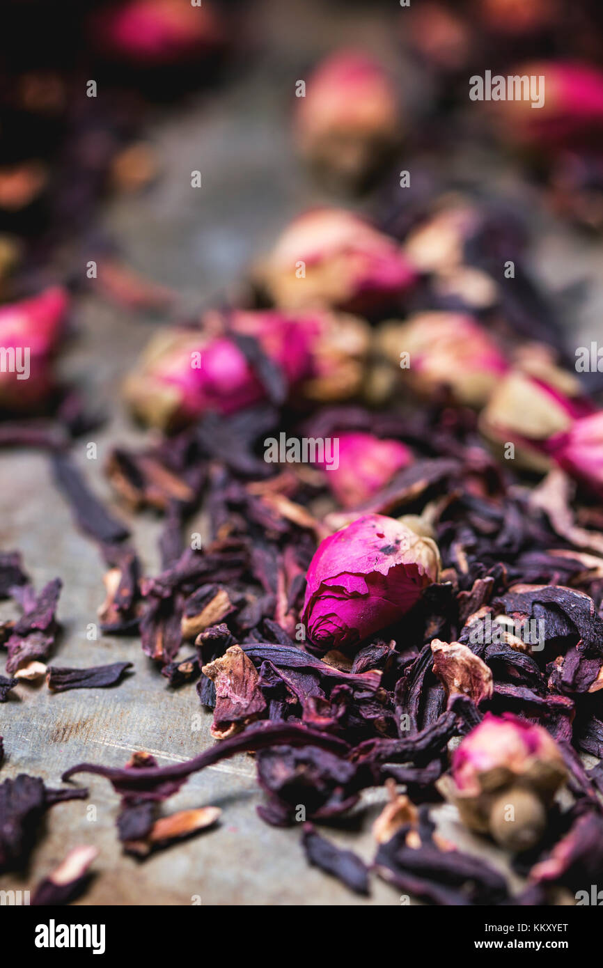 Heap of tea roses and dried hibiscus flower stock photo 167164112 heap of tea roses and dried hibiscus flower izmirmasajfo Images