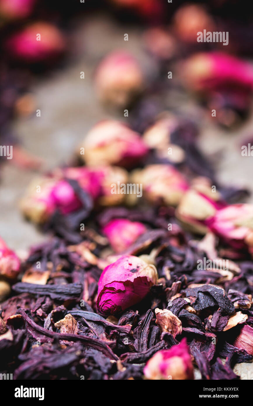Heap of tea roses and dried hibiscus flower stock photo 167164114 heap of tea roses and dried hibiscus flower izmirmasajfo Images