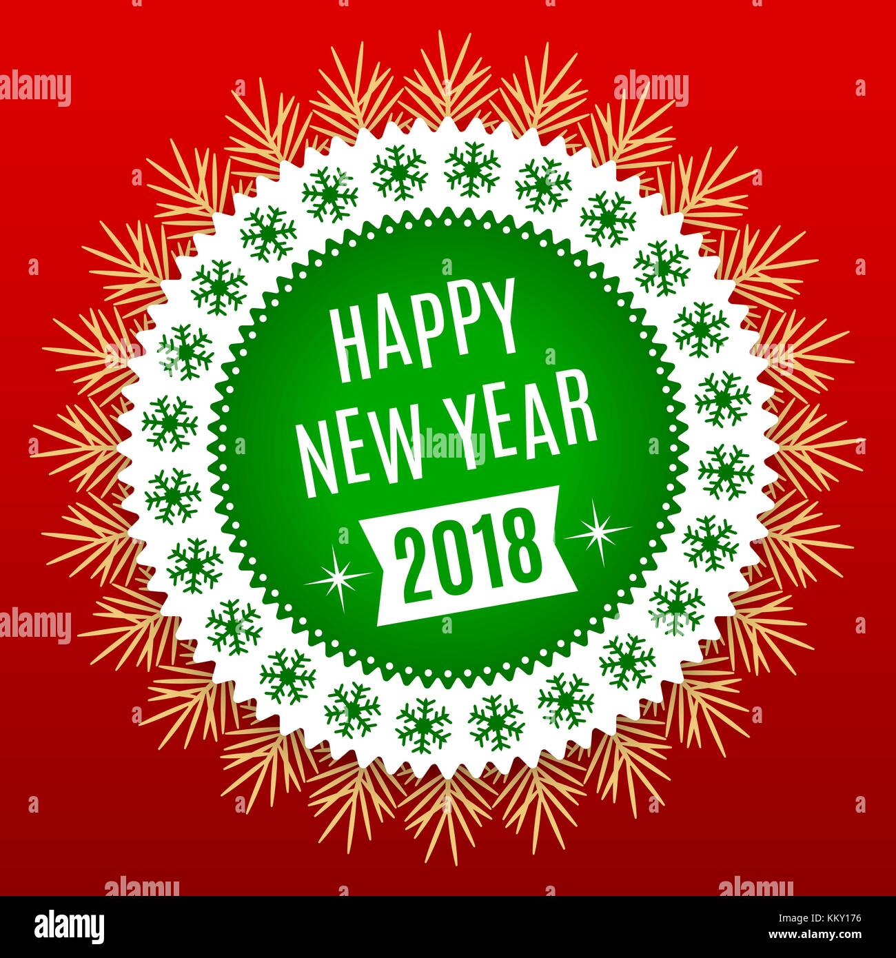 Happy new year 2018 stock vector images alamy new year 2018 holiday round banner of happy new year 2018 in green white kristyandbryce Image collections
