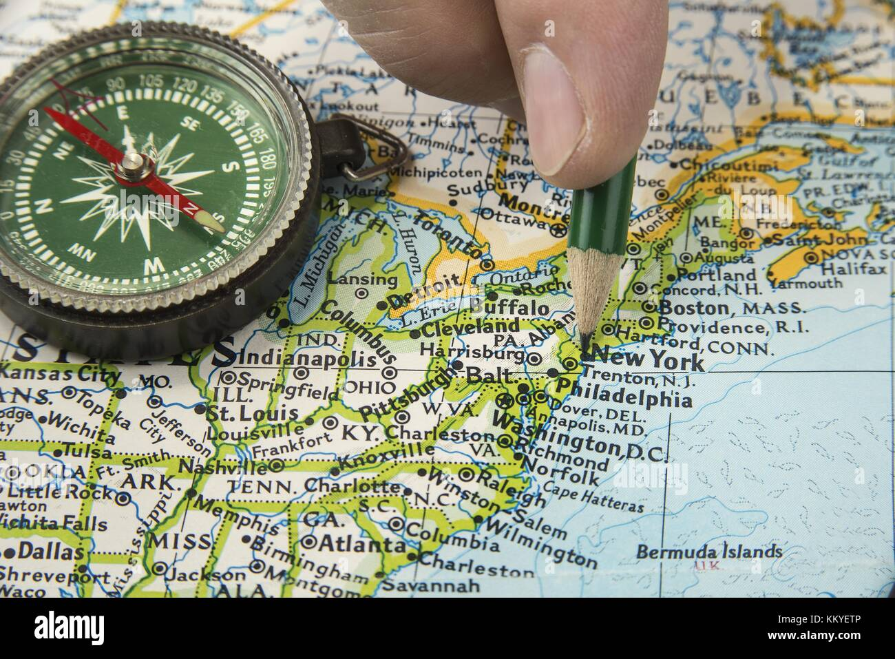 Compass On Land Map Stock Photos Compass On Land Map Stock - Usa map with compass