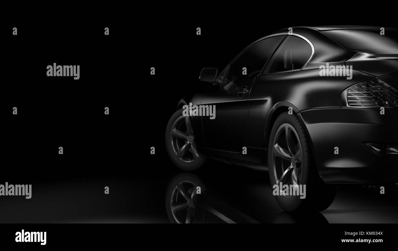 Dark Background With Car Silhouette On Right Side 3d Illustration