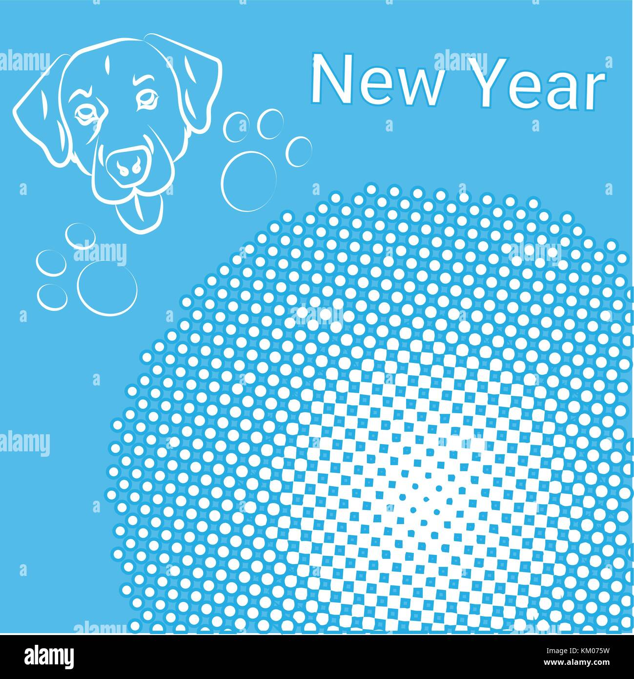 New Year Greeting Card Pop Art Comic Banner With Dog Holiday Stock