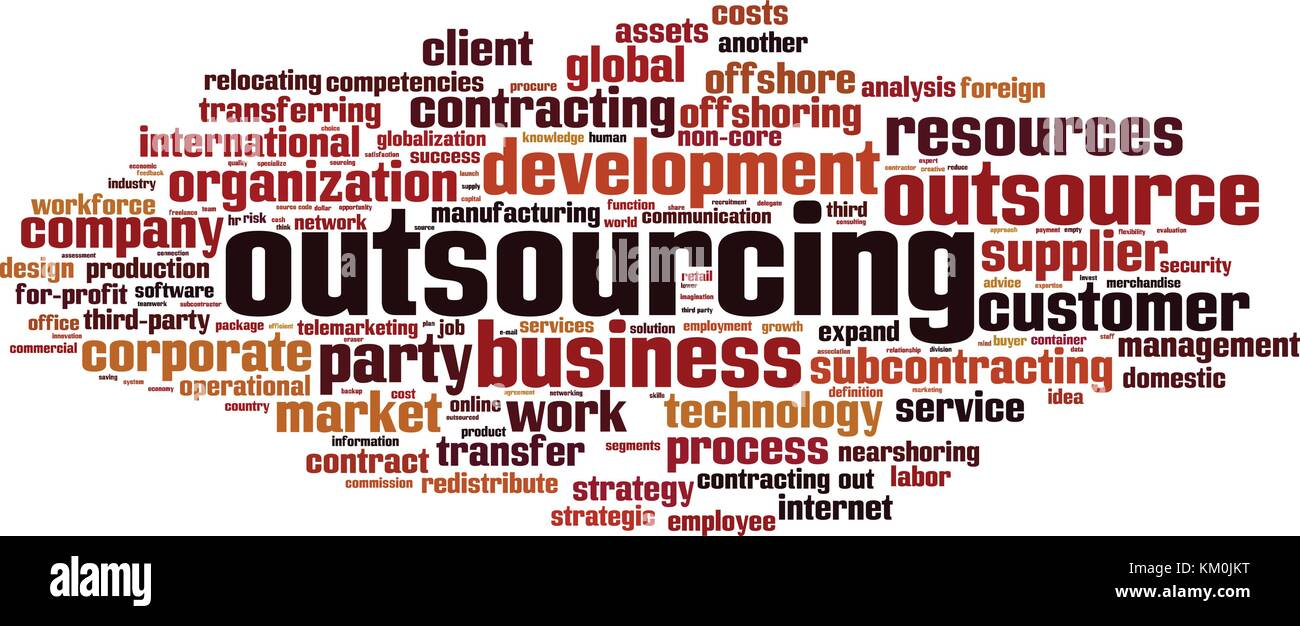 outsourcing word cloud concept. vector illustration stock vector art